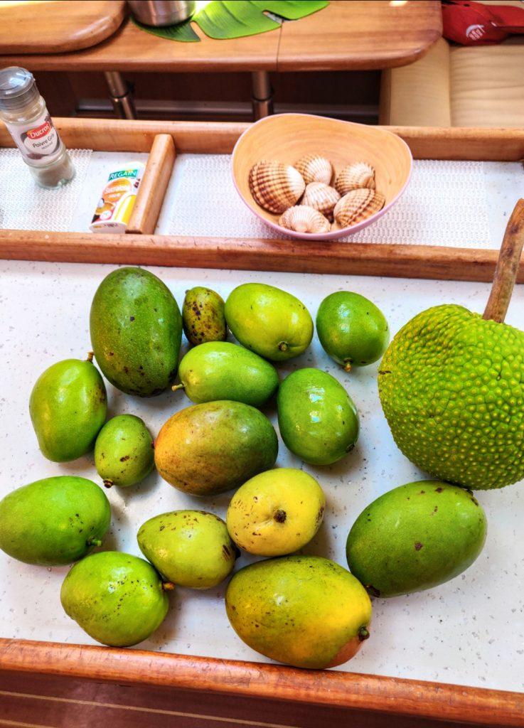 Eigen geplukte mango's aan boord van Pitou