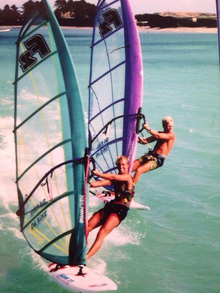 Dorien Hoekstra de Vries in haar windsurftijd